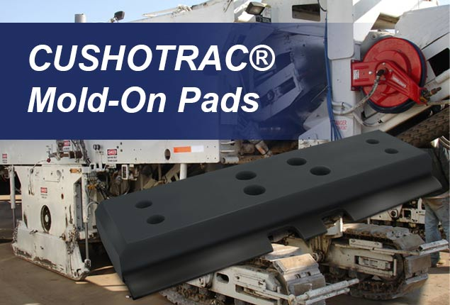 CUSHOTRAC Mold-On Track Pads for Wirtgen, Roadtec, and Other Asphalt Milling machines